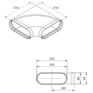 Bora Ecotube EFBH90/1 Bogen 90° flach horizontal