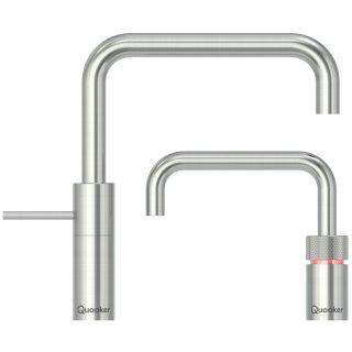 Quooker Nordic Square Twintaps mit PRO3 Reservoir & CUBE Voll-Edelstahl 3NSRVSTTCUBE