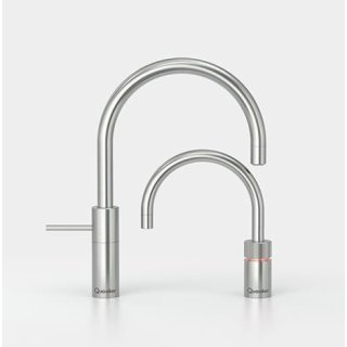 Quooker Nordic Round Twintaps mit COMBI Reservoir & CUBE Voll-Edelstahl 22NRRVSTTCUBE